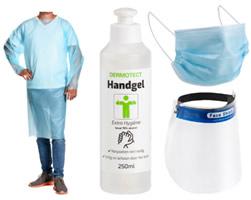 Corona bescherming: desinfectie gel/zeep, mondkapjes, alcohol doekjes, gezichtsscherm, wegwerp schort